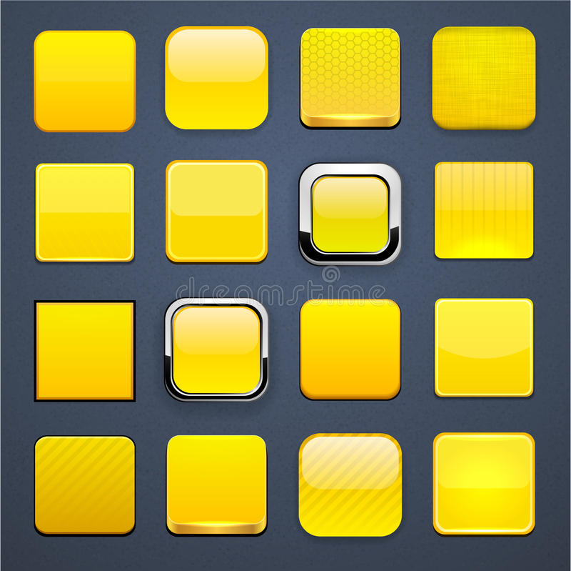 Yellow square high-detailed modern web buttons. royalty free illustration