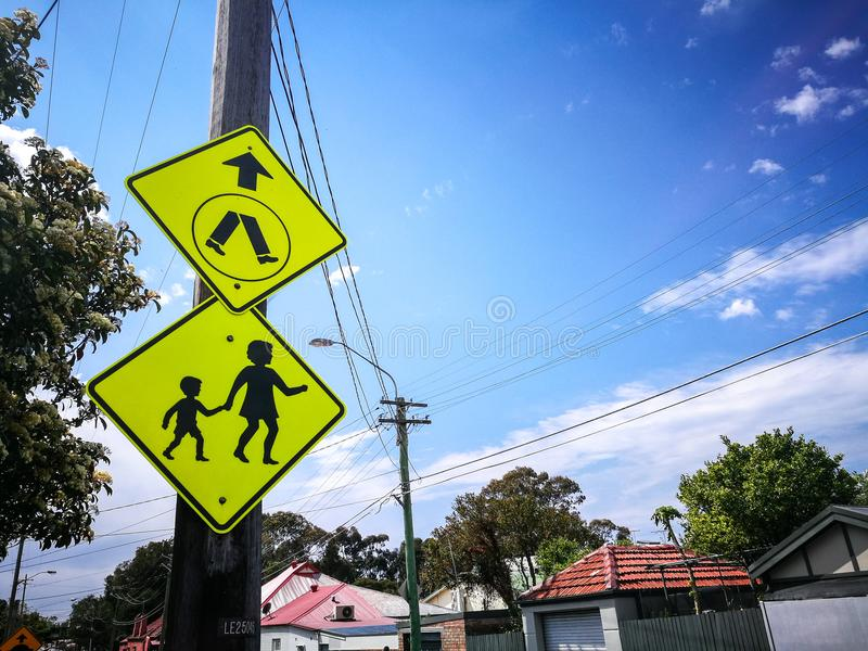 Traffic warning sign for pedestrian crossing ahead sign. stock image