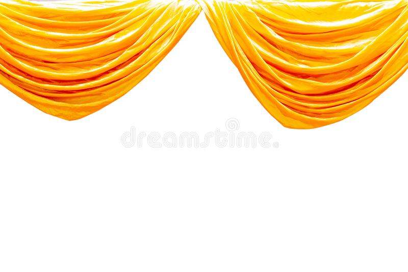 Yellow stage theater curtain isolated on white background.  stock photos