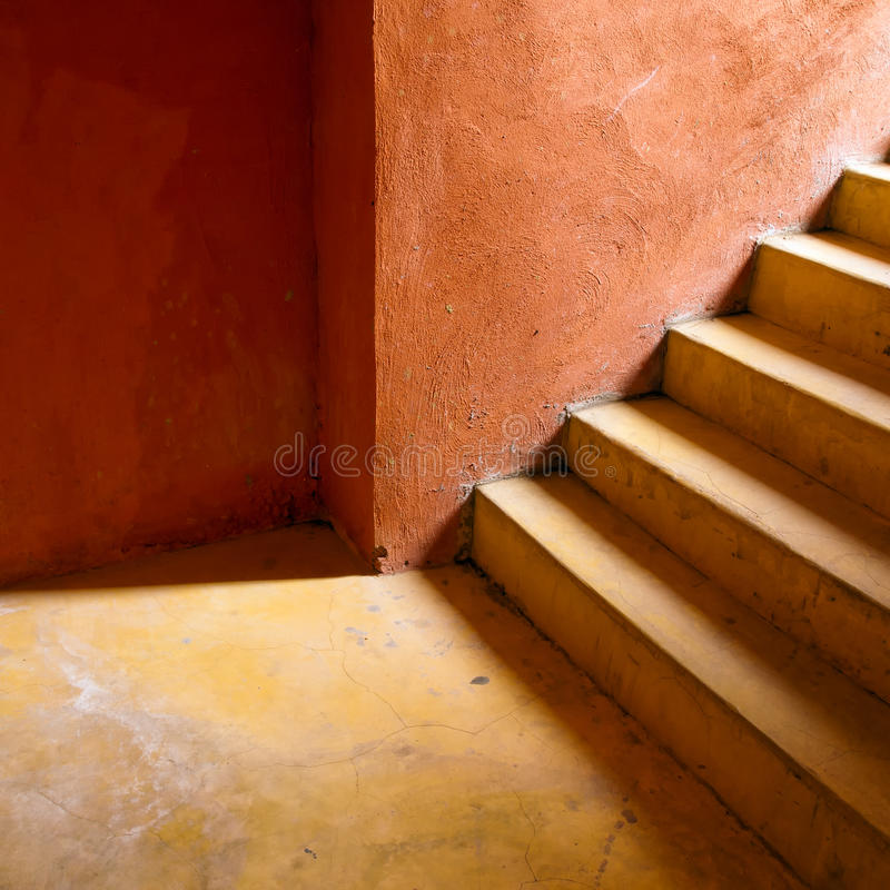 Free Yellow Stair And Orange Wall Royalty Free Stock Images - 16506879