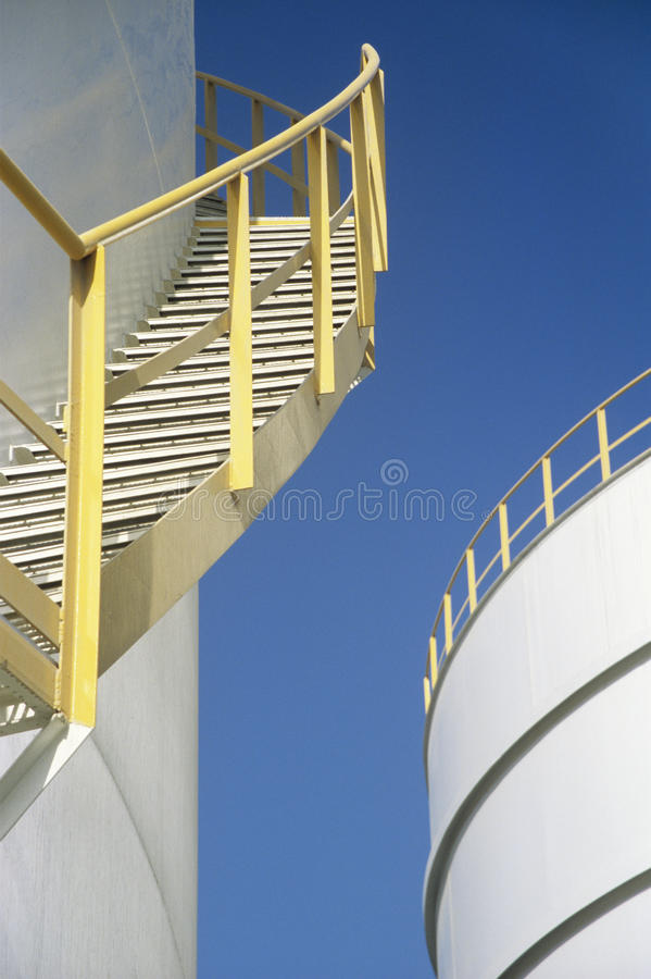 Download Yellow Stairway On Outdoor Storage Tank Stock Image - Image of yellow, white: 30845691