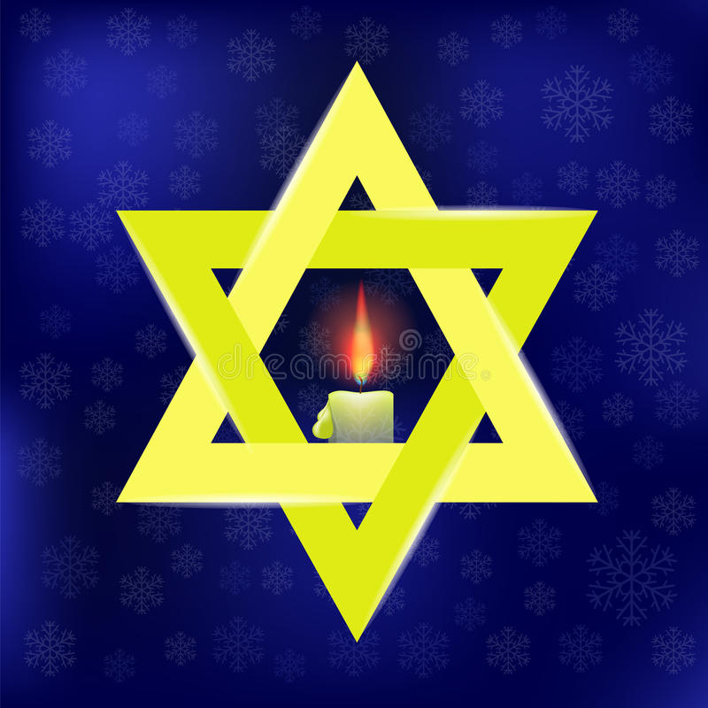 Yellow Star of David and Burning Candles. Isolated on Blue Snowflakes Background royalty free illustration