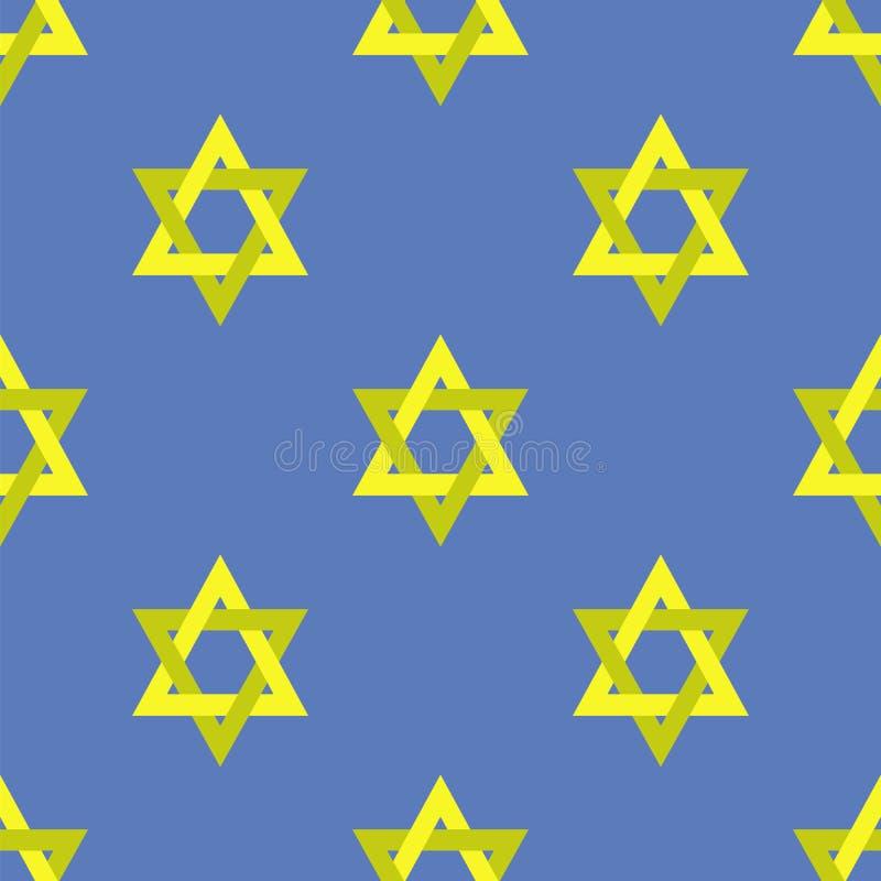 Yellow Star of David Seamless Pattern. Yellow Star of David on Blue Background. Seamless Pattern royalty free illustration
