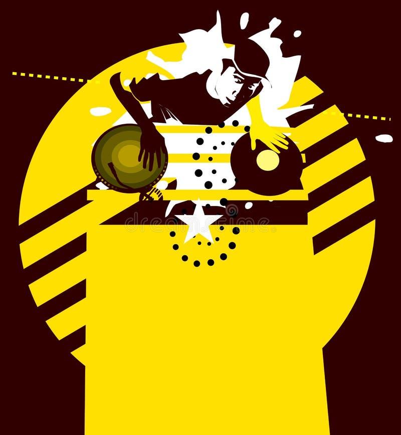 Yellow Star dj. Background composition stock illustration