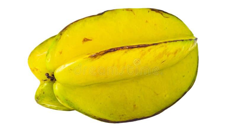 Yellow star fruit or carambola macro isolated on white background.  stock image