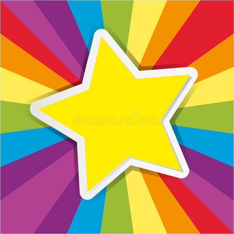 Yellow star on rainbow background. Illustration royalty free illustration