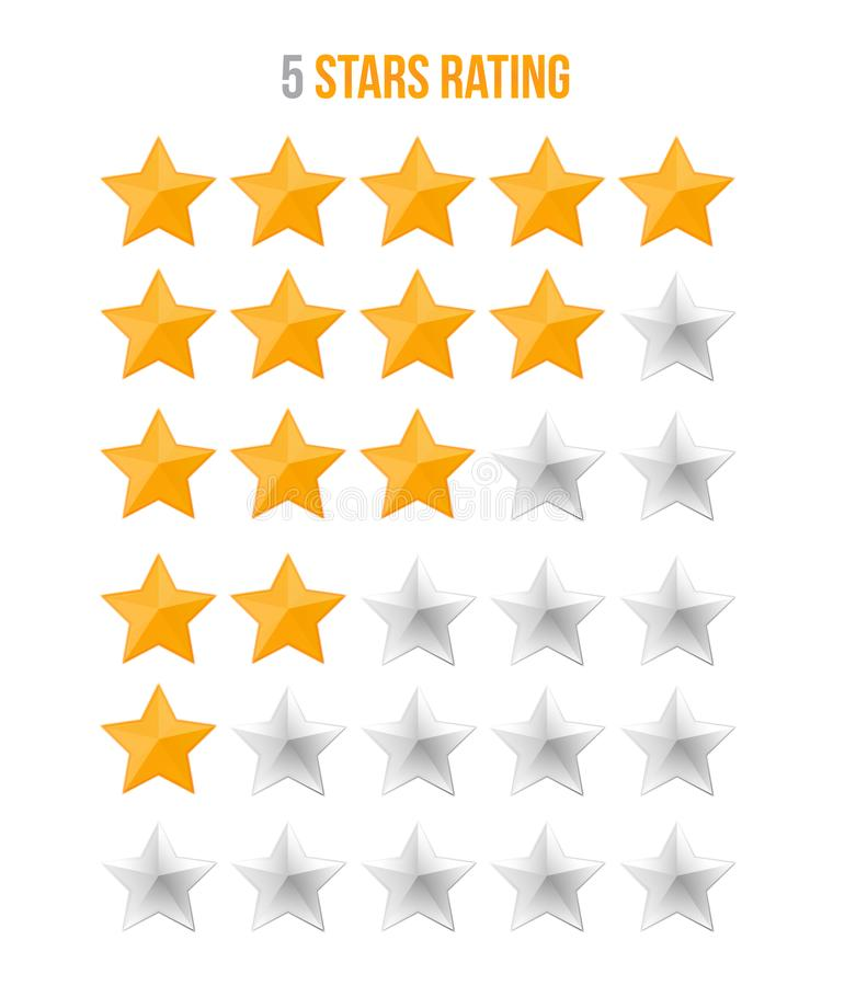 Yellow 5 star rating isolated on white background. Feedback concept for Customer service. Vector template. Yellow 5 star rating isolated on white background vector illustration