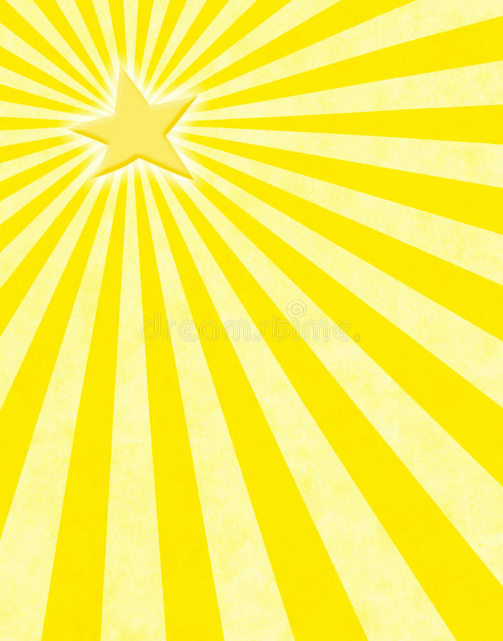 Yellow Star Sunbeams. A glowing yellow star with light rays on a paper background royalty free illustration