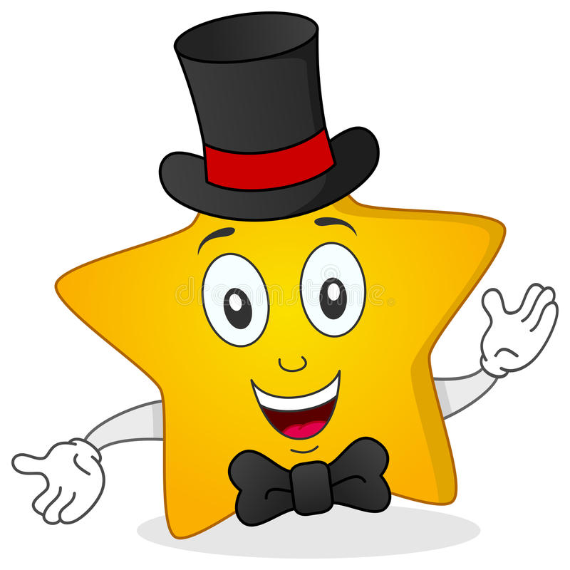 4 Cartoon Characters Wearing Black And Yellow : Yellow star with top hat and bow tie stock vector