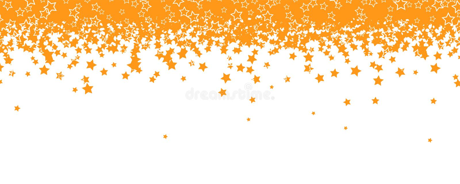 Yellow stars are falling down like snowfall or rain. Decoration for holidays of Christmas, Fathers days. Abstract stock illustration