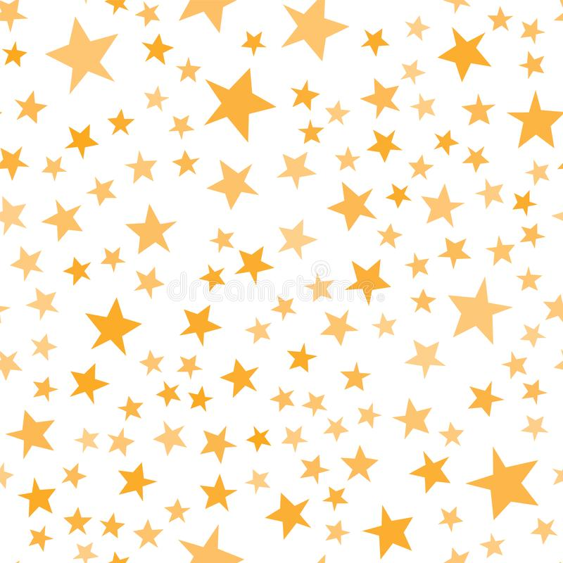 Yellow stars pattern. Basic cute irregular star shapes for kids, Christmastime, wrapping paper, invitations. Vector. Swatch royalty free illustration