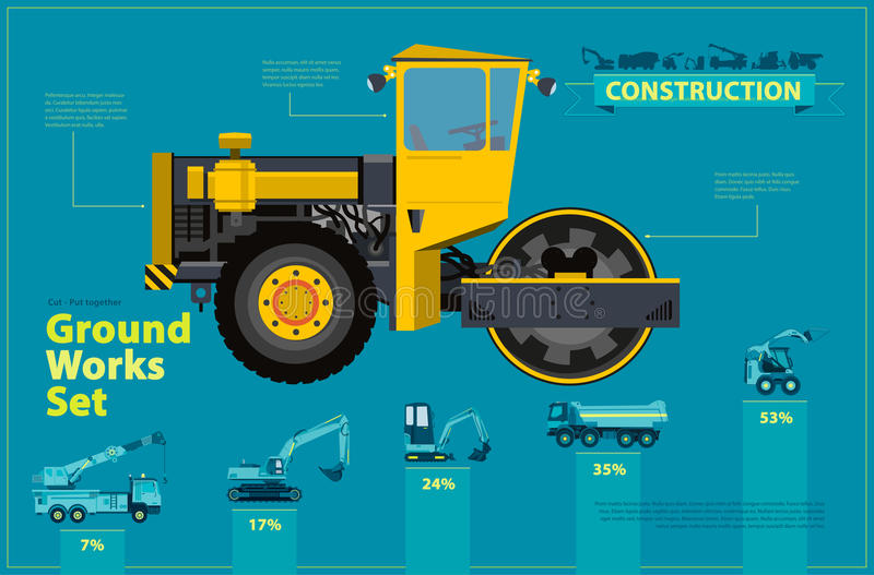 Yellow steamroller. Blue infographic set, ground works blue machines vehicles. Yellow steam roller, road roller. Blue infographic big set of ground works blue vector illustration