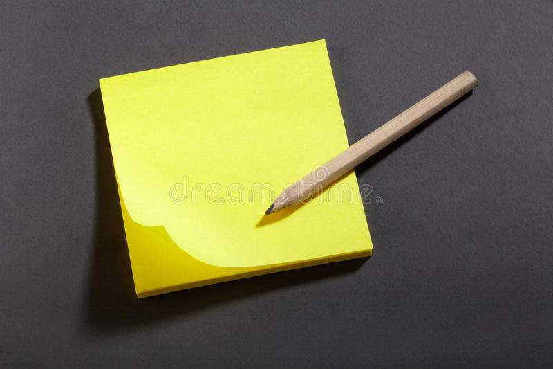 Yellow sticker block notes stock photo