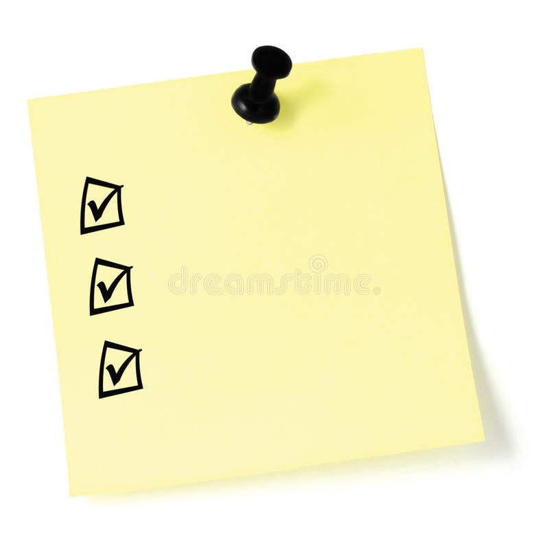 Free Yellow Sticker Checklist, Black Check Boxes And Tick Marks, Thumbtack Pushpin Isolated, Blank Post-it Style To-do List Sticky Note Royalty Free Stock Photo - 78294625
