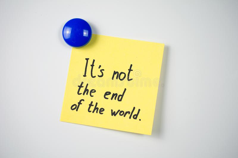 Yellow sticker inscription It`s not the end of the world royalty free stock images
