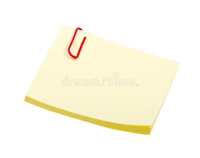 Yellow Sticker Note With Clip Isolated On White Royalty Free Stock Images