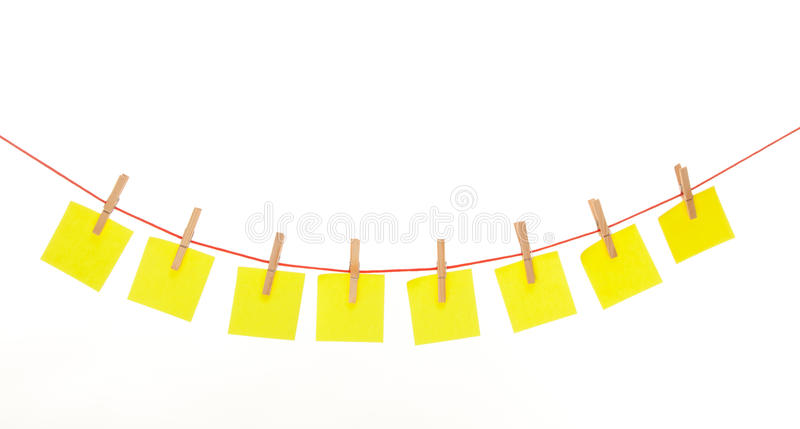 Download Yellow Stickies Hanged On Red Rope Isolated Stock Image - Image: 31169235