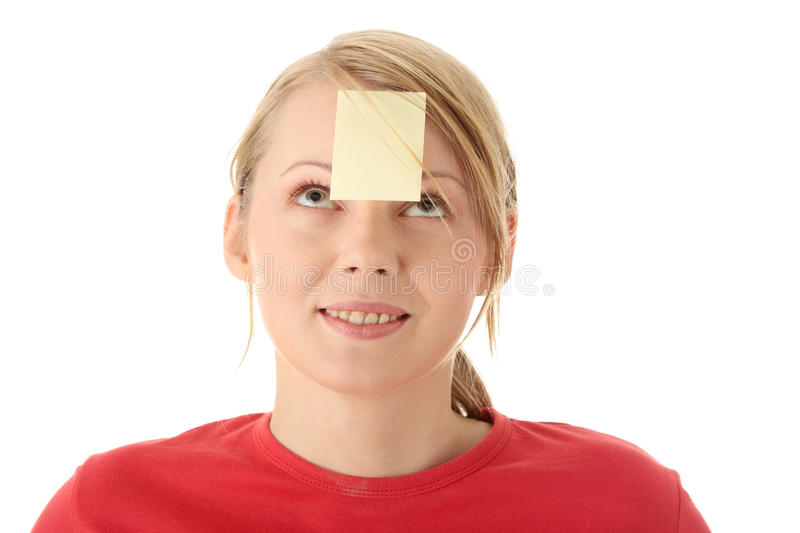 Download Yellow Sticky Note On Forehead Stock Photo - Image: 11486882