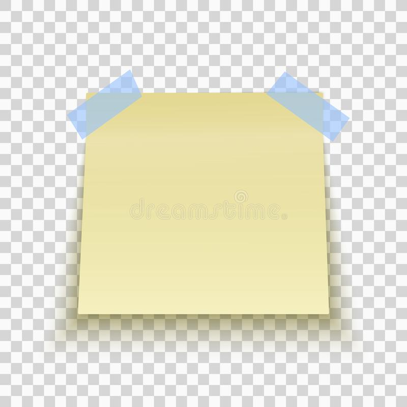 Yellow sticky note isolated on transparent background. Office note for work. Blue scotch. Template for your project. Vector. Yellow sticky note isolated on vector illustration