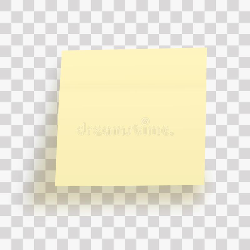 Yellow sticky note isolated on transparent background. Template for your projects. Vector illustration vector illustration