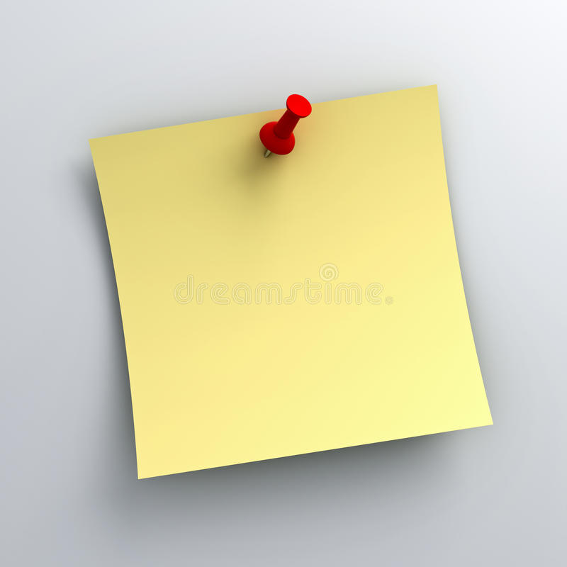 Download Yellow Sticky Note Paper With Red Push Pin On White Background Stock Illustration - Illustration: 34278581