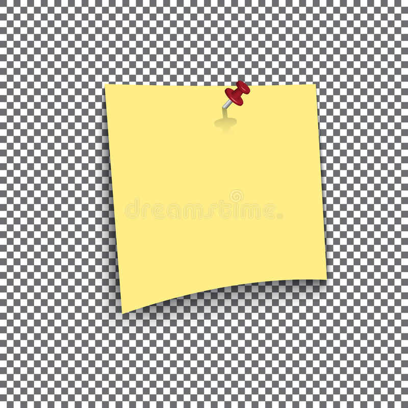 Yellow Sticky Note On Transparent Background Stock Vector
