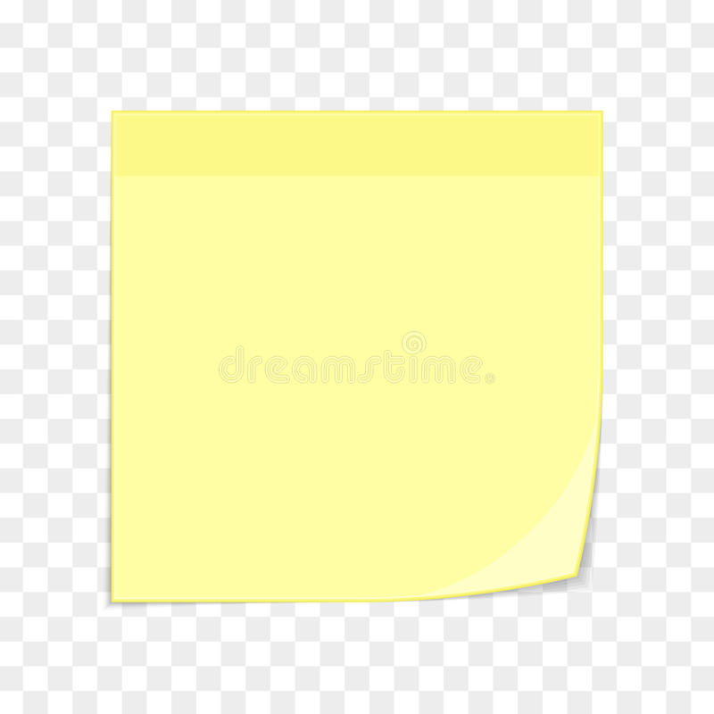 Yellow Sticky Note On Transparent Stock Vector  Image