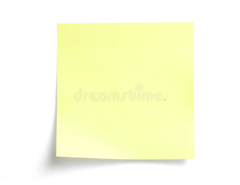Yellow sticky note on white royalty free stock photos