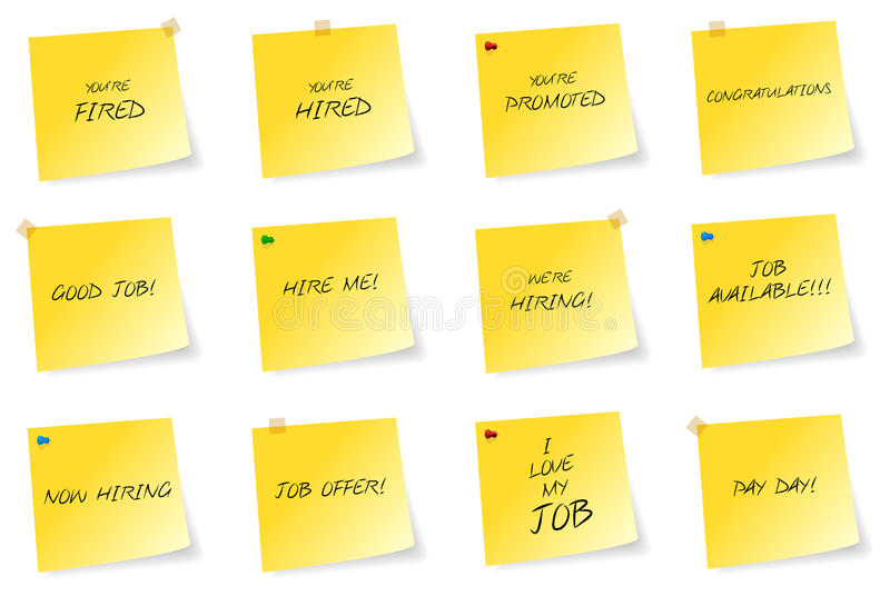 Yellow Sticky Notes With Job Related Messages stock photo
