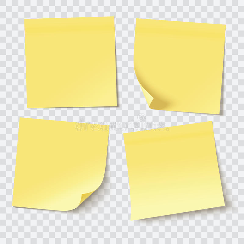 Yellow sticky notes. Vector illustration royalty free illustration