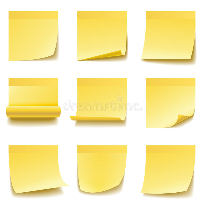 Yellow sticky notes vector illustration