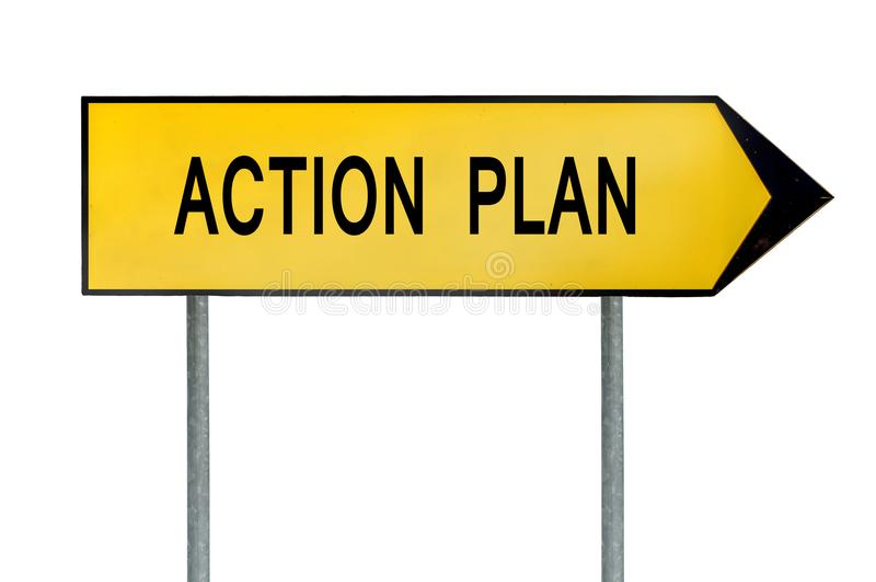 Yellow street concept action plan sign royalty free stock photo