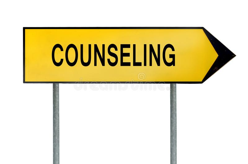 Yellow street concept counseling sign.  stock photography