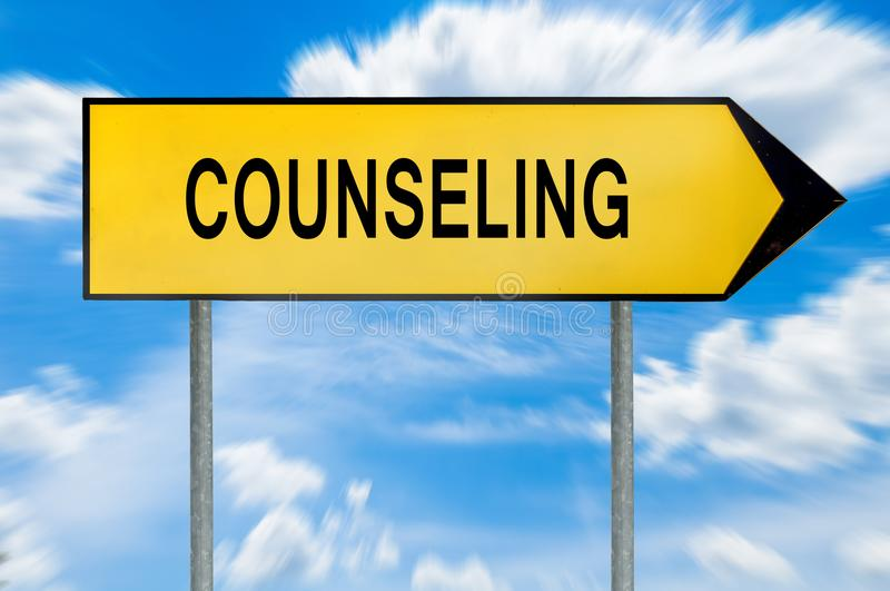 Yellow street concept counseling sign royalty free stock images
