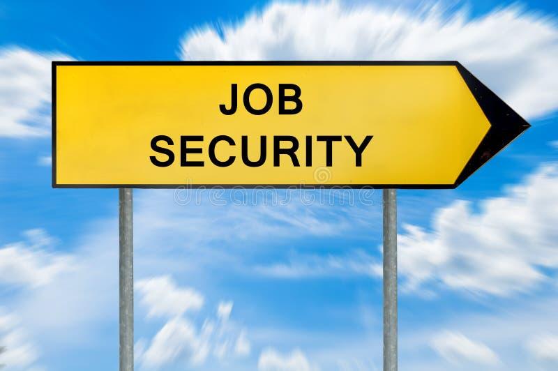 Yellow street concept job security sign stock photos