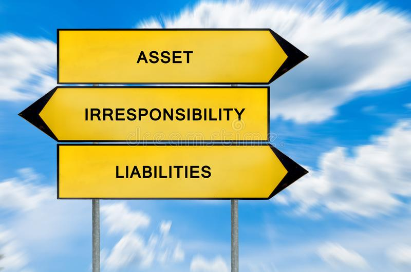 Yellow street concept liability, asset, irresponsibility sign. Isolated on sky background stock photo