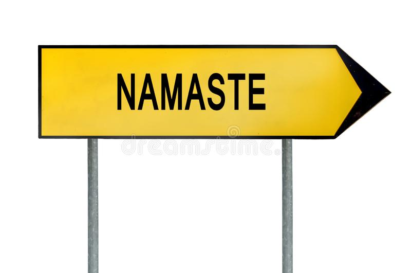 Yellow street concept namaste sign royalty free stock images