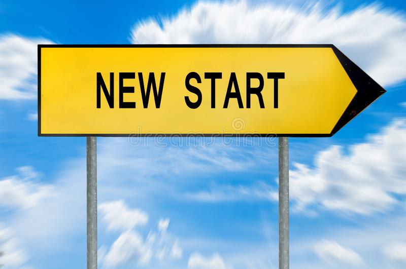 Yellow street concept new start sign royalty free stock images