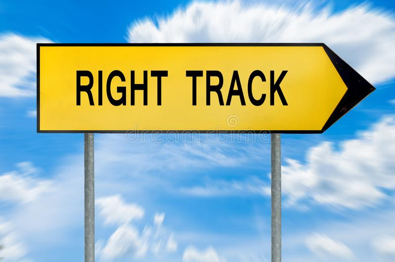 Yellow street concept right track sign stock image