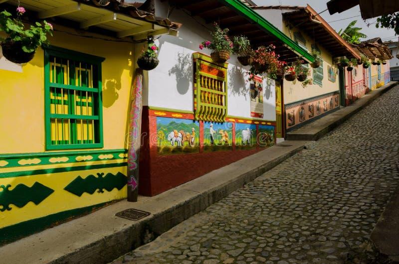 Yellow, Street, House, Tree stock photography