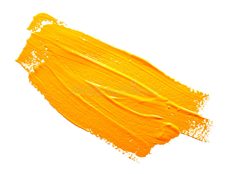 Yellow strokes of the paint brush isolated. Yellow ochre strokes of the paint brush isolated on a white stock photography