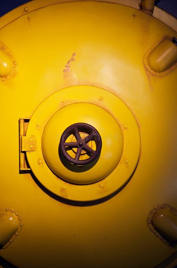 Yellow submarine. Shut hatch door of yellow submarine royalty free stock photos