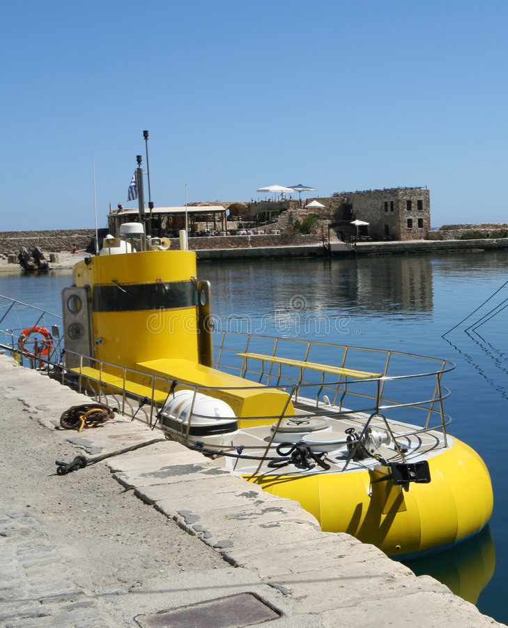 Yellow submarine. The yellow submarine in the Chania harbour (Crete, Greece stock photography