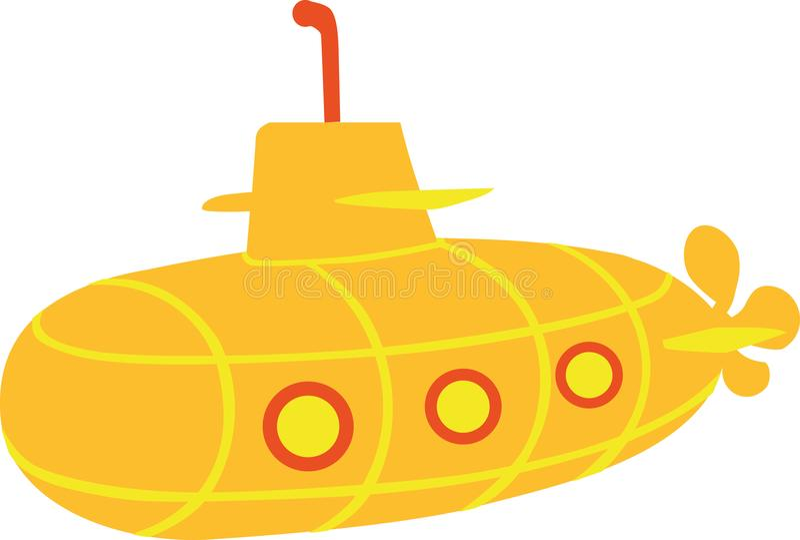 Yellow Submarine - cartoon style. Yellow red stock illustration