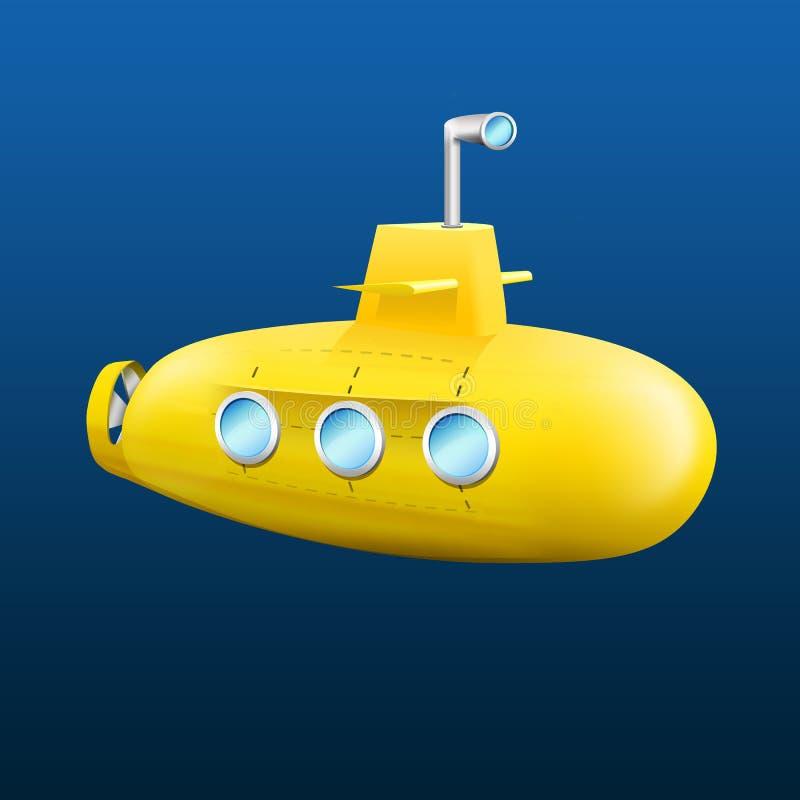 Yellow submarine. On the ocean floor vector illustration
