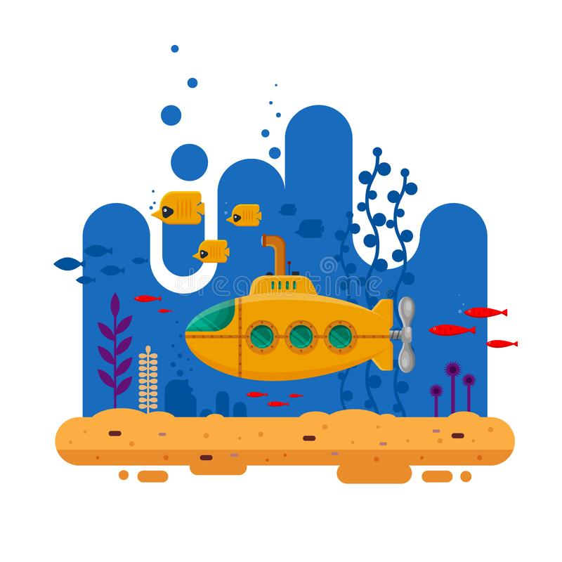 Yellow submarine with periscope underwater concept. Marine life with fish, coral, seaweed, colorful blue ocean landscape vector illustration