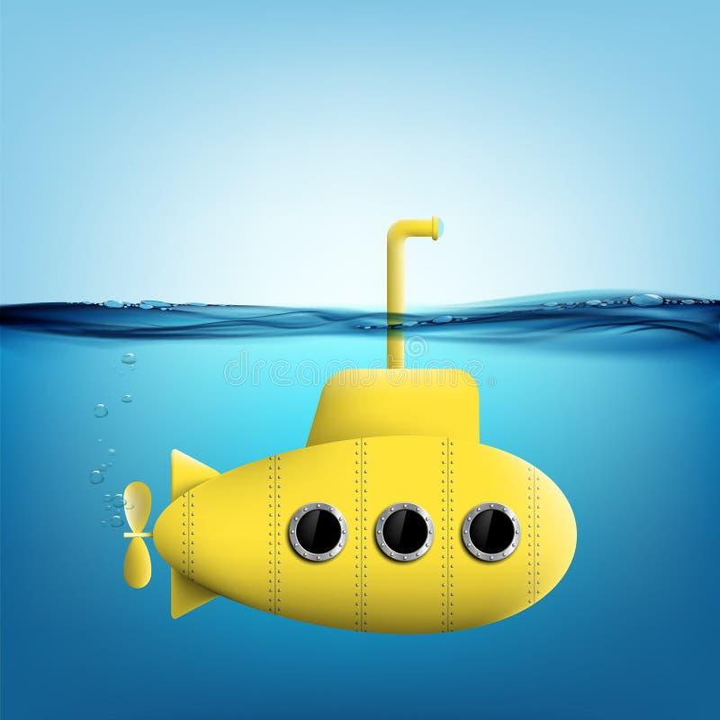Submarine with periscope underwater vector illustration