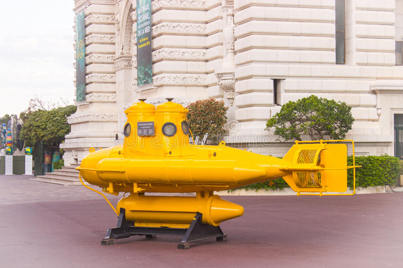 Yellow submarine. Watercraft of explorer Jacques Cousteau at Oceanographic Museum in Monte Carlo, Monaco royalty free stock image