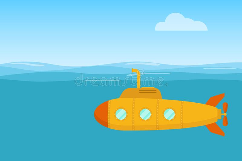 Yellow submarine. Yellow submarine swims in the waters of the ocean. Flat design, vector royalty free illustration