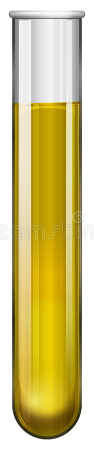 Yellow substance in test tube stock illustration
